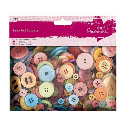 Assorted Buttons (250g) - Mixed Bright