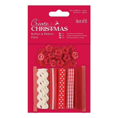 Button and Ribbon Pack - Red