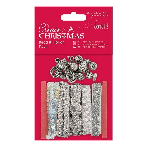Beads and Ribbon Pack - Silver