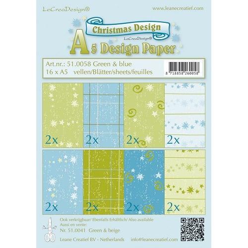 Christmas design papier assortiment groen/blauw 16 x A