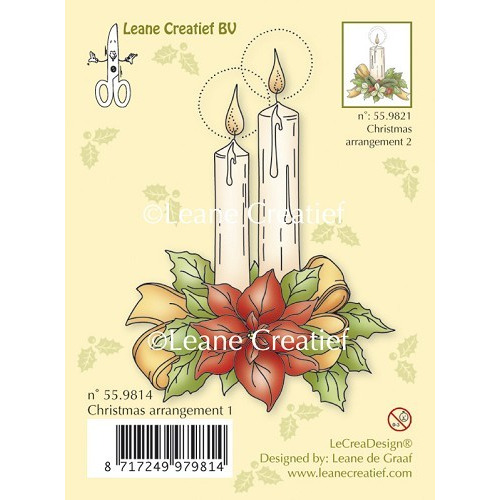 Clear stamp Christmas arrangement 1. with ponsettia