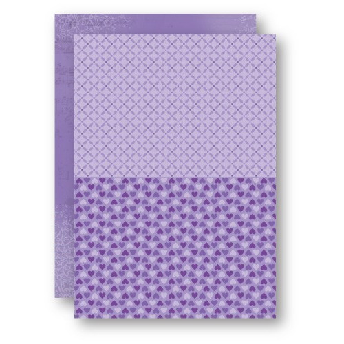 Doublesided background sheets A4 purple hearts