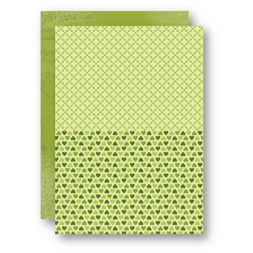 Doublesided background sheets A4 green hearts