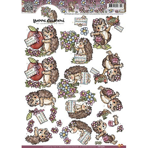 3D A4 Knipvel Yvonne Creations - Egeltjes/Beterschap CD10360