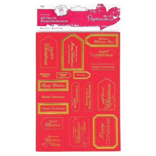 Foiled Sentiments (36pcs) - Happy & Merry Christmas (Red)