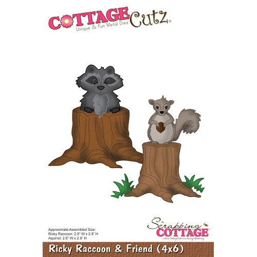 CottageCutz Ricky Raccoon & Friend (4x6)