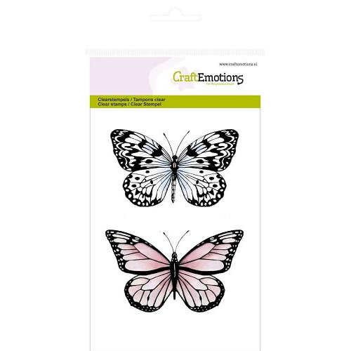 CraftEmotions clearstamps A6 - 2 vlinders nr 2 Botanical
