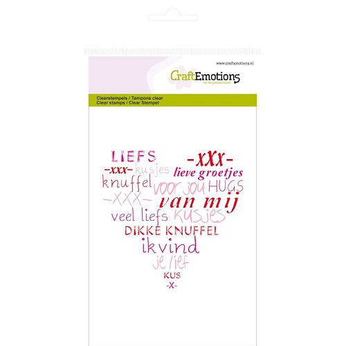 CraftEmotions clearstamps A6 - hart `veel liefs` (NL)