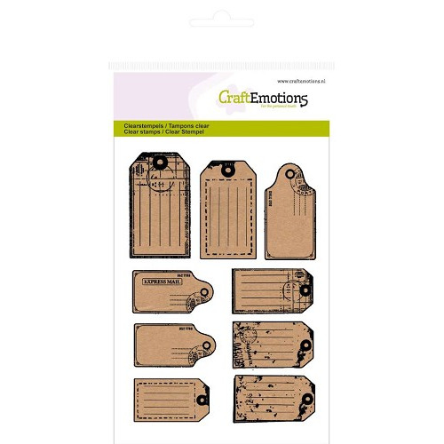 CraftEmotions clearstamps A6 - Kraft labels