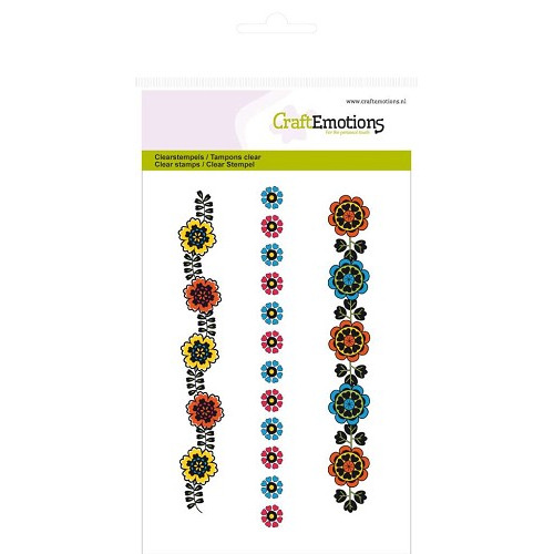 CraftEmotions clearstamps A6 - bloemenrand Folklore (NEW 04-2014