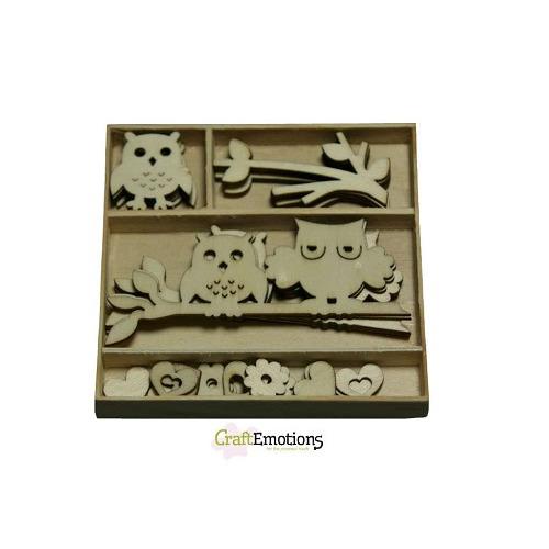 CraftEmotions Houten ornamenten doosje uiltjes 30 pcs