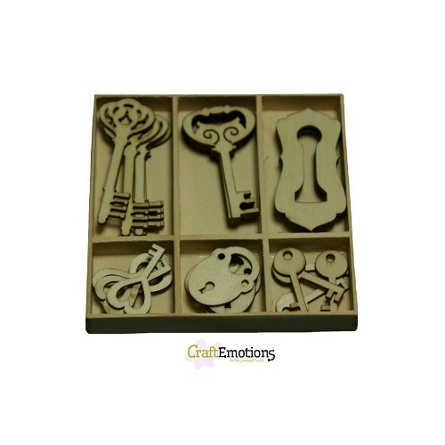 CraftEmotions Houten ornamenten sleutel en slot 30 pcs