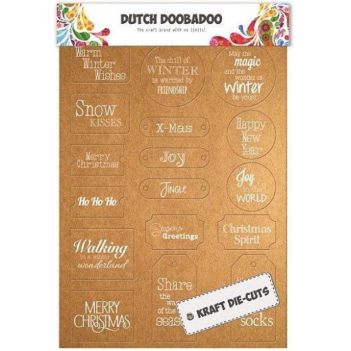 Dutch Doobadoo Dutch - Label Art Xmas (White) A4
