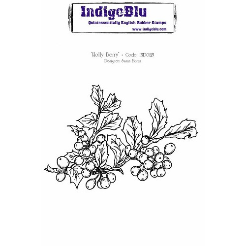 IndigoBlu Holly Berry A6 Rubber Stamp (IND0125)