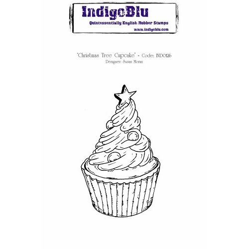 IndigoBlu Christmas Tree Cupcake A6 Rubber Stamp (IND0126)