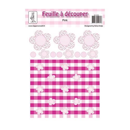 8305 - Knipvel A4, 240gr. Pink 6, bloemen