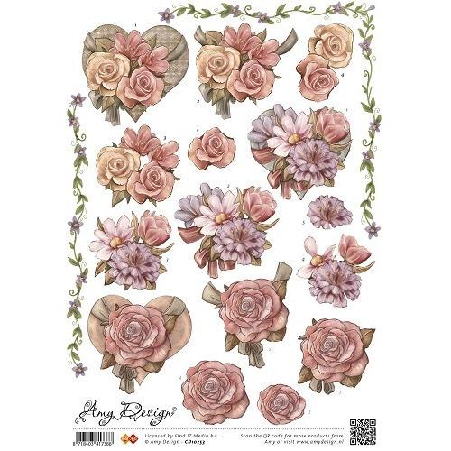 3D Knipvel - Amy Design bloem in hart