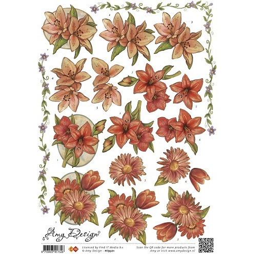3D Knipvel - Amy Design - Vintage bloemen