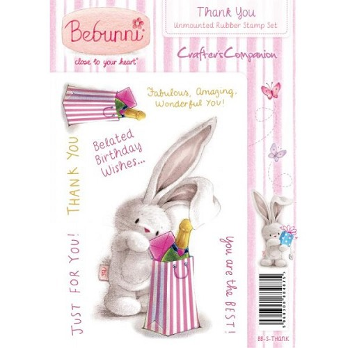 Crafters Companion Bebunni Unmounted Rubber Stamp - Thank You