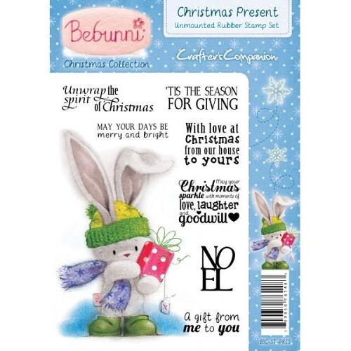 Bebunni Kerstmis A6 gemonteerde Rubber Stamp - Christmas Present