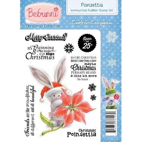 Bebunni Kerstmis A6 gemonteerde Rubber Stamp - Poinsettia door C