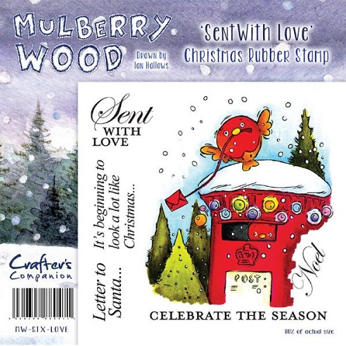 Mulberry Hout Kerst Rubber Stamp - Sent With Love van Companion