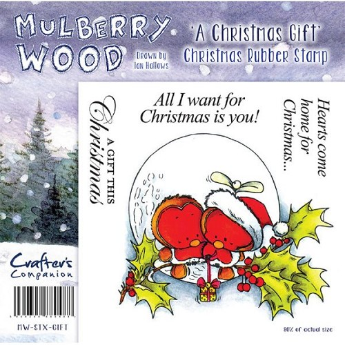 Mulberry Hout Kerst Rubber Stamp - A Christmas Gift door Compani