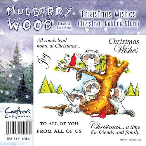 Mulberry Hout Kerst Rubber Stamp - Christmas Wishes door Compani