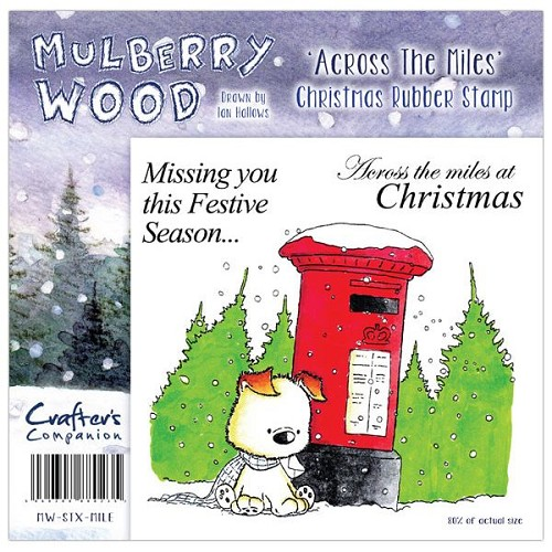 Mulberry Hout Kerst Rubber Stamp - over de Mijlen door Companion