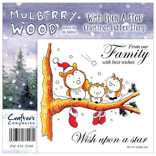 Mulberry Hout Kerst Rubber Stamp - Wish Upon a Star van Companio