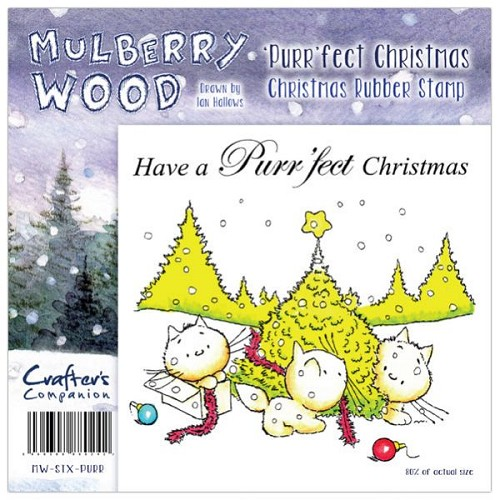 Crafters Companion Mulberry Wood Christmas Rubber Stamp - Purr`f