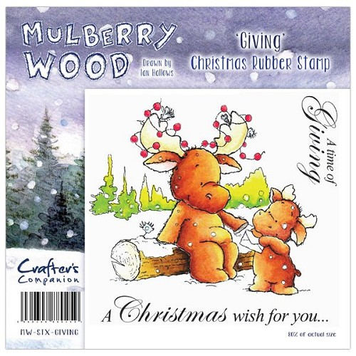 Crafters Companion Mulberry Wood Christmas Rubber Stamp - Giving