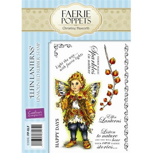 Faerie Poppets Unmounted Rubber Stamp Set - Elfin Lanterns by Cr