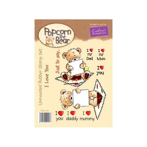 Popcorn the Bear Heren Collectie Ik hou van jou stempel set door