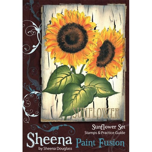 Sheena Douglass Paint Fusion Unmounted Rubber Stamp - Sunflower