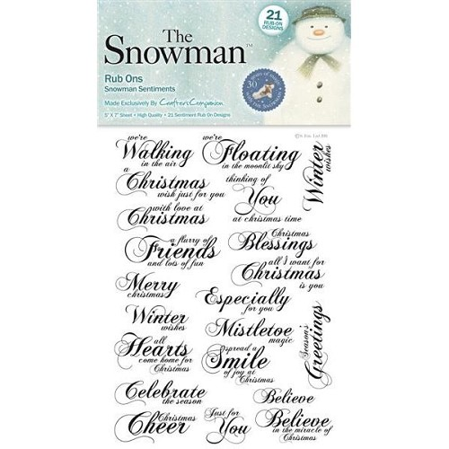 The Snowman 5in x 7in Sentiment Rub On Sheet