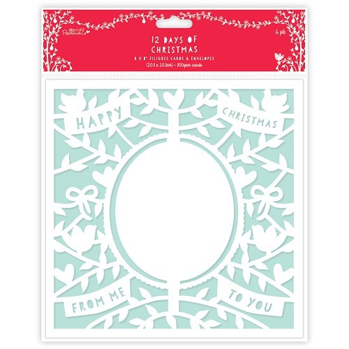 8 x 8 Filigree Cards & Envelopes (6pk) - 12 Days of Christmas