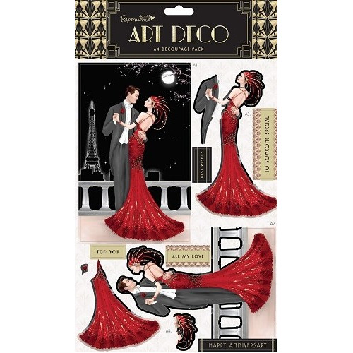 A4 Foiled Decoupage Pack - Art Deco (Ruby)