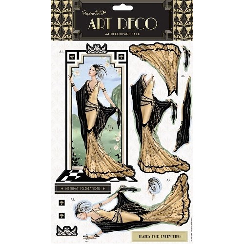 A4 Foiled Decoupage Pack - Art Deco (Gold)
