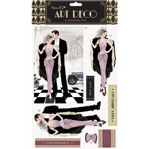 A4 Foiled Decoupage Pack - Art Deco (Pink Sapphire)