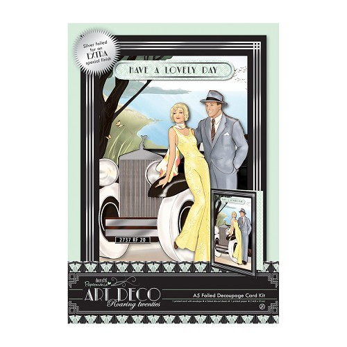 A5 Decoupage Card Kit Foiled - Art Deco - Car