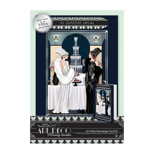 A5 Decoupage Card Kit Foiled - Art Deco - Champagne