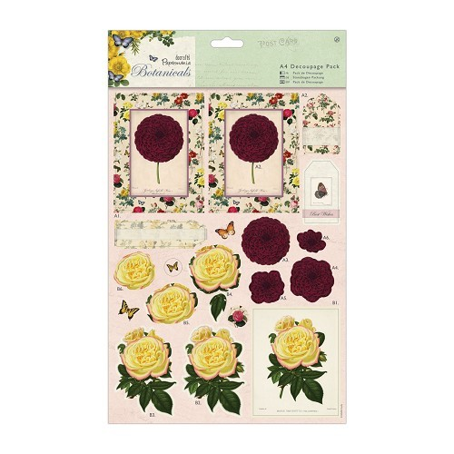 A4 Decoupage Pack - Botanicals - Blousey Flowers