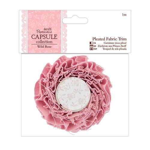 1m Pleated Fabric Trim - Capsule Collection - Wild Rose