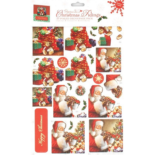 A4 Foiled Decoupage Pack - Christmas Tidings 1