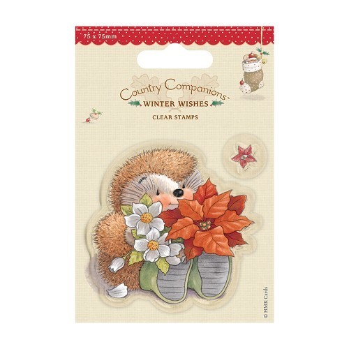 75 x 75mm Mini Clear Stamps - Winter Wishes - Poinsettia