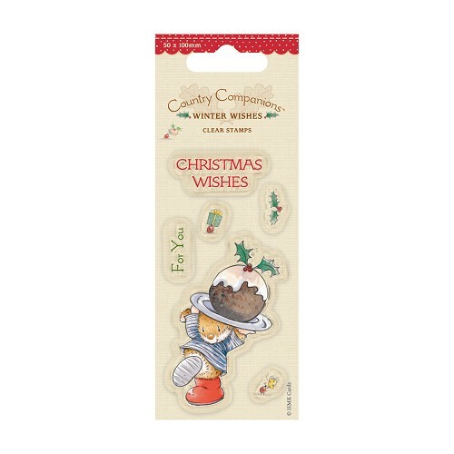 50 x 100mm Mini Clear Stamps - Winter Wishes - Christmas Cake