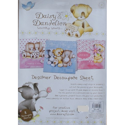 Daisy & Dandelion Lovingly Yours - Designer Decoupage Sheet