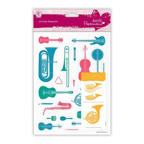 A5 Clear Stamps Set (23pcs) - Musical Instruments