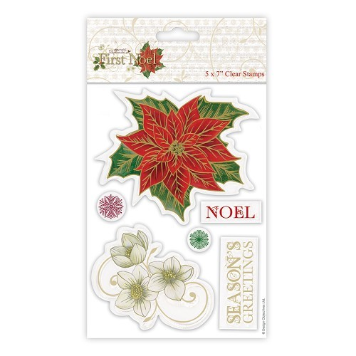 5 x 7 Clear Stamp (6pcs) - First Noel - Poinsettia